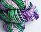 Hand dyed purples and green sparkle DK yarn, superwash merino/nylon/stellina double knit yarn, indie dyed yarn, variegated shades of purple