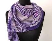Hand knitted wool shawl, hand knit superwash merino/nylon shawl, purple grey Hug Shot shawl, hand knitted scarf, hand knitted wool neck wear