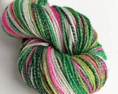 Hand dyed yarn, 100g of silver sparkle sock yarn, superwash merino/lurex 4ply/fingering. Whoville - hot pink, greens and white yarn.