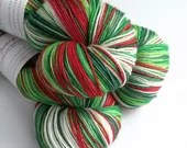 Hand dyed yarn pre-order.  Holly Jolly Christmas colourway, variegated wool yarn, dyed to order, you choose base, red green white yarn
