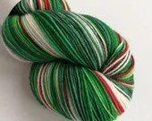 Hand dyed sock yarn, Christmas sock yarn, Holly Jolly Christmas yarn, green red white sock yarn, Superwash merino/nylon sock/fingering/4ply.