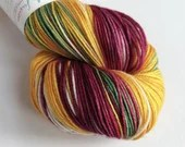 Hand dyed sock yarn, Christmas sock yarn, Vintage Christmas yarn, deep red green gold sock yarn, Superwash merino/nylon sock/fingering/4ply.