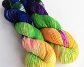 BFL sock yarn, hand dyed variegated fingering weight yarn, hand dyed sock yarn, superwash bfl/nylon 4ply, Cat People, blues, purple, green.