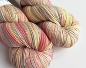 Hand dyed sock yarn, variegated superwash merino/nylon sock fingering 4ply weight yarn.  Indie dyed sock yarn, Gilderoy pastel sock yarn.