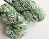 Hand dyed 4ply, singles superwash merino/sparkle sock/4ply/fingering weight yarn. Forest Walk, 1ply yarn, green yarn with speckles, speckled