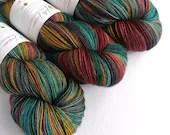 Hand dyed yak sock yarn, variegated sw merino/yak/nylon sock/4ply/fingering. Mistral sock yarn, multi-coloured fingering weight yarn.