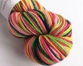 Hand dyed worsted weight singles merino wool yarn. Variegated greens, pink, red and yellow wool yarn, non-superwash merino worsted wool.