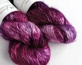 Hand dyed tonal pinks and purples, kid mohair/silk/polyamide blend of 4ply/fingering weight yarn, 100g skein, pink-purple yarn with silk.