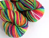 Hand dyed DK yarn, silver sparkle double knit, superwash merino/nylon/stellina double knit yarn, indie dyed pink rainbow sparkle wool yarn
