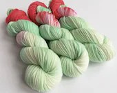 Hand dyed sock yarn, high twist superwash merino/nylon sock/fingering/4ply, variegated sock yarn, pastel green yarn, pale pink, salmon pink.