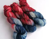 Hand dyed BFL sock yarn, variegated 75/25% superwash BFL/nylon sock/fingering/4ply weight yarn, What The Tiger Ate For Tea, navy blue, red