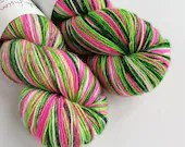 Hand dyed yarn, singles superwash merino 4ply wool yarn, variegated pink, greens and white fingering yarn, knitting, crochet, indie dyed