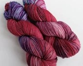 Hand dyed worsted weight wool yarn. Red, blue purple variegated worsted superwash merino wool, indie dyed, ooak (one of a kind),