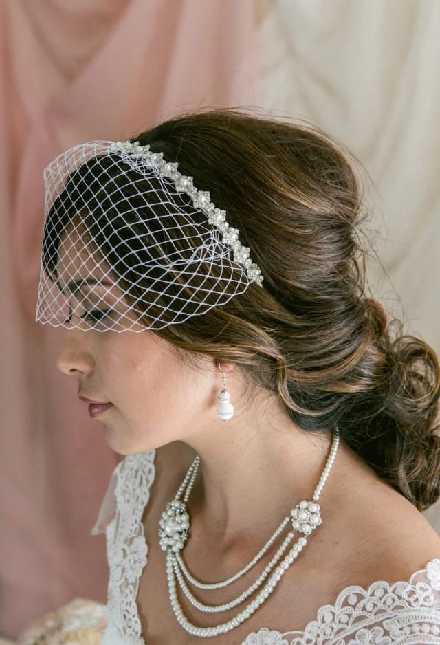 mini birdcage veil, birdcage veil headband, bridal veil, wedding veil, bridal headpiece, pearl wedding headband