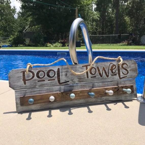 custom pool sign pool towel holder pool sign pool towel etsy