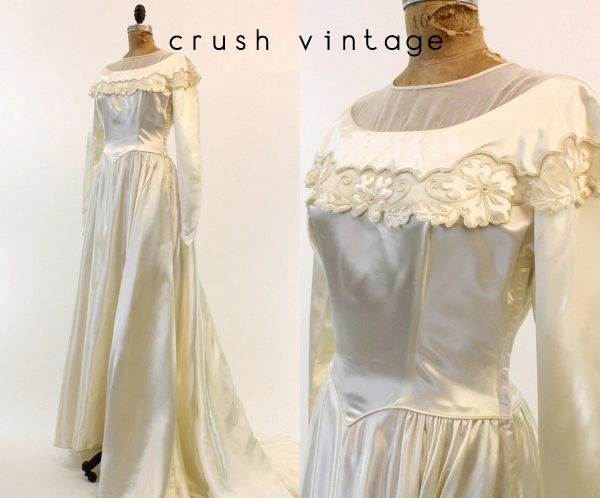 40s Beaded Wedding Dress S / 1940s Bridal Gown / Endless