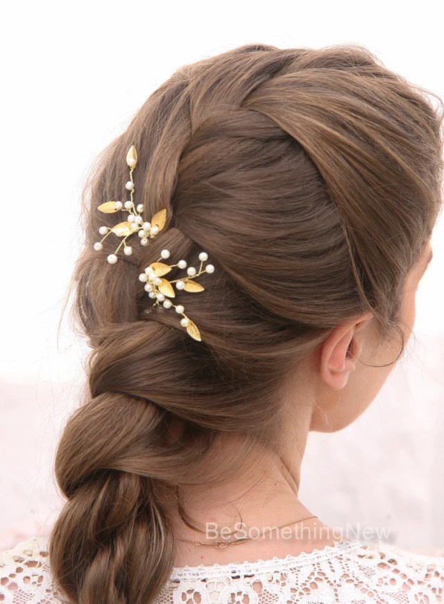 gold leaf bridal hair pins wedding hair accessories, bridal hair pins pearl and golden leaf bobby pins hair clips bridesmaids hair accessory