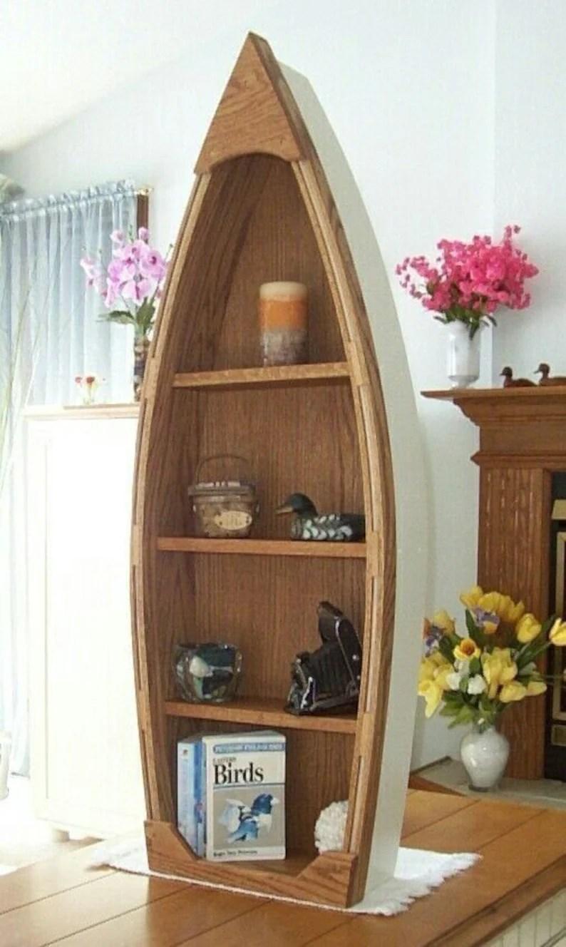 4 Foot Wood Row Boat Shelf 12 14 Weeks To Start Building Bookcase Bookshelf Canoe