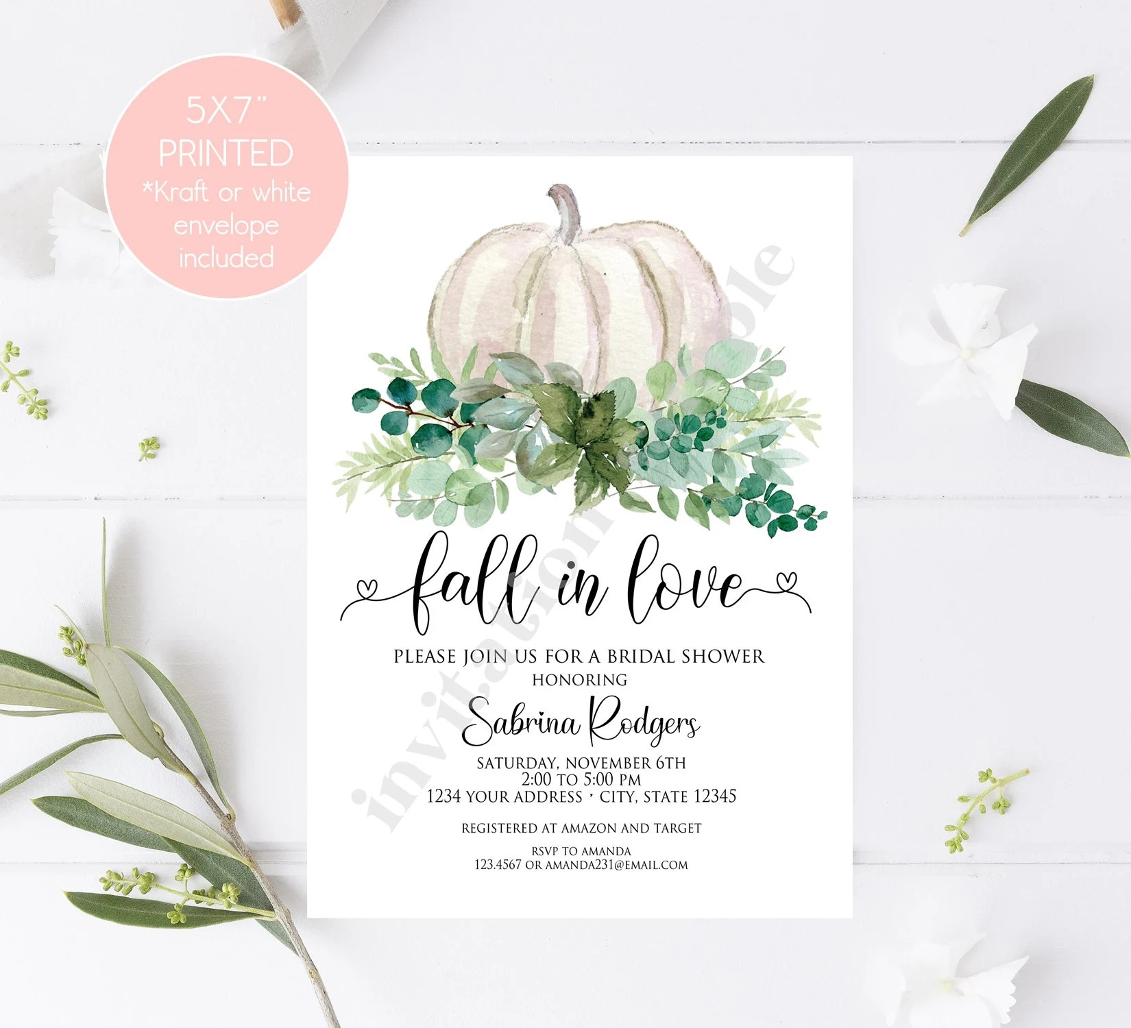 Photo by ivash studio like weddings, modern bridal showers are all about experiences. Custom Printed 5x7 Fall In Love Bridal Shower Invitations Greenery Pumpkin Bridal Shower Invitation With Envelope By Paper Monkey Company Catch My Party