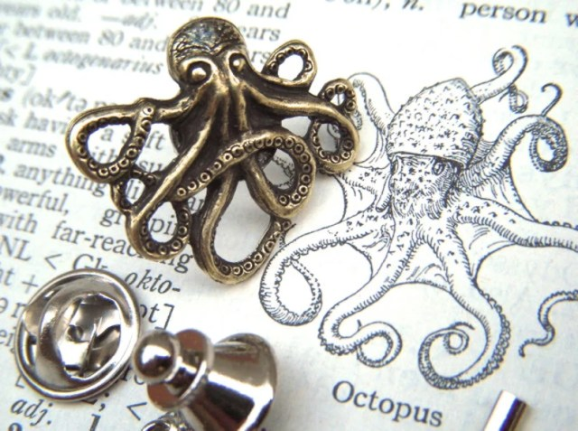 Tiny Octopus Tie Tack Lapel Pin Antiqued Brass Metal Gothic Victorian Nautical Steampunk Style From Cosmic Firefly.