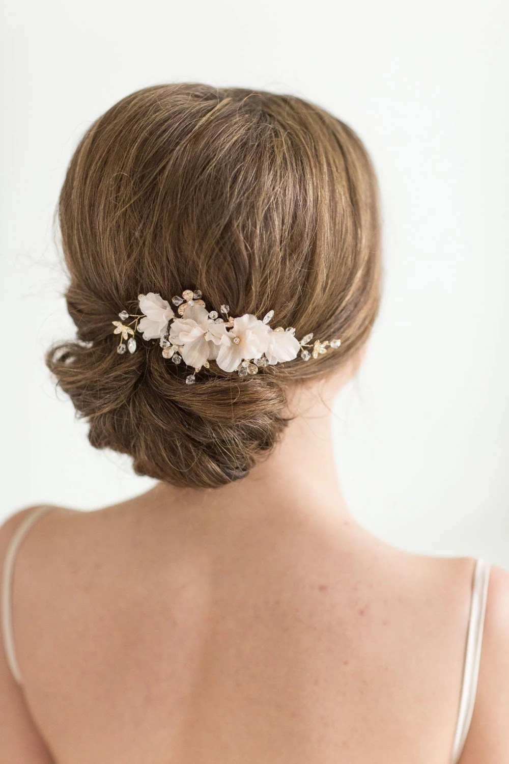bridal hair comb wedding headpiece floral crystal hair comb gold blush pink wedding comb bridal hairpiece