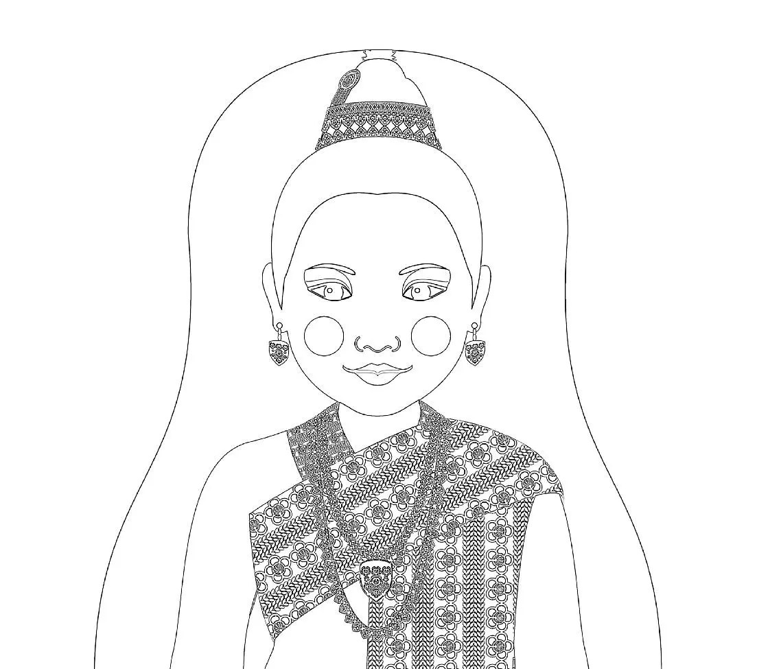 Laotian Doll Traditional Dress Coloring Page Printable Matryoshka