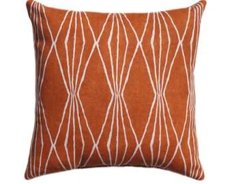 Orange Throw Pillow Handcut Shapes Orange Crush Geometric Pillow Robert Allen Orange Cream Ikat Pillow Burnt Orange Diamond Print Pillow