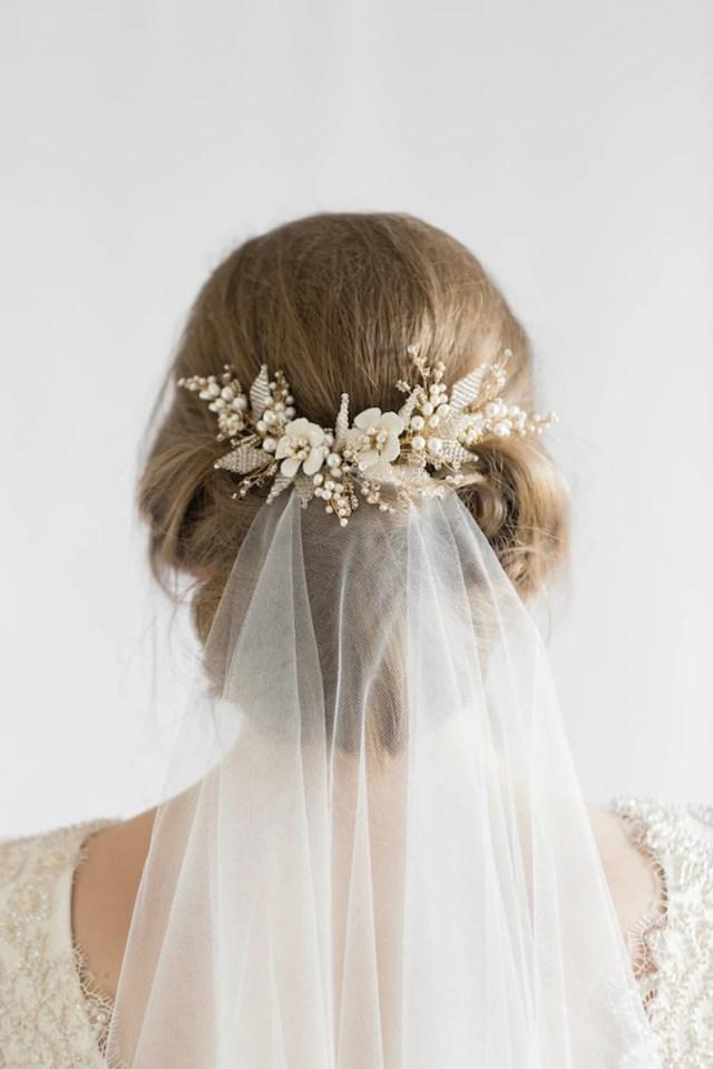 jasmine | floral wedding hair comb, delicate bridal headpiece, wedding hair comb