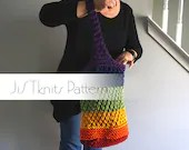 Market Tote Knit Pattern, Upcycle T-shirt Yarn tutorial, recycle t shirt, t shirt yarn, pdf pattern, cotton yarn, market tote t-shirt
