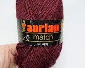 deSTASH yarn, Aarlan Match yarn, wool knitting yarn, wool crochet yarn, burgundy colored yarn