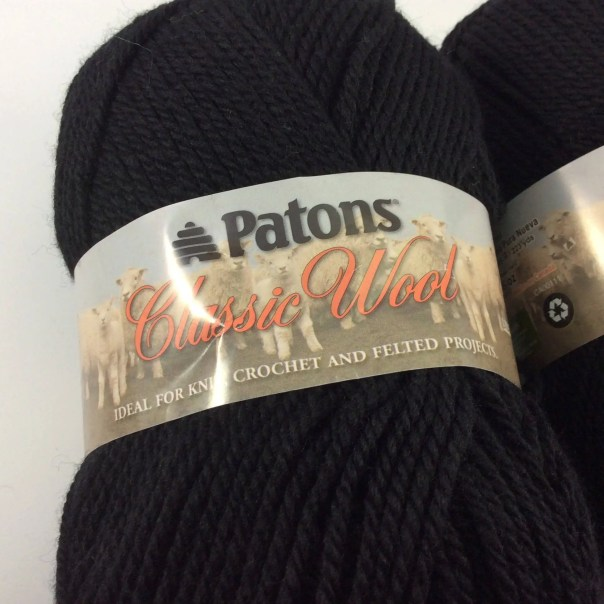 deSTASH, Patons Classic Wool, Black knitting yarn, black felting yarn, black crochet yarn, worsted yarn, solid black yarn,  free shipping