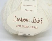 deSTASH yarn, Debbie Bliss Merino Aran, natural wool yarn, knitting yarn, yarn to dye, merino wool yarn, natural white yarn, crochet yarn