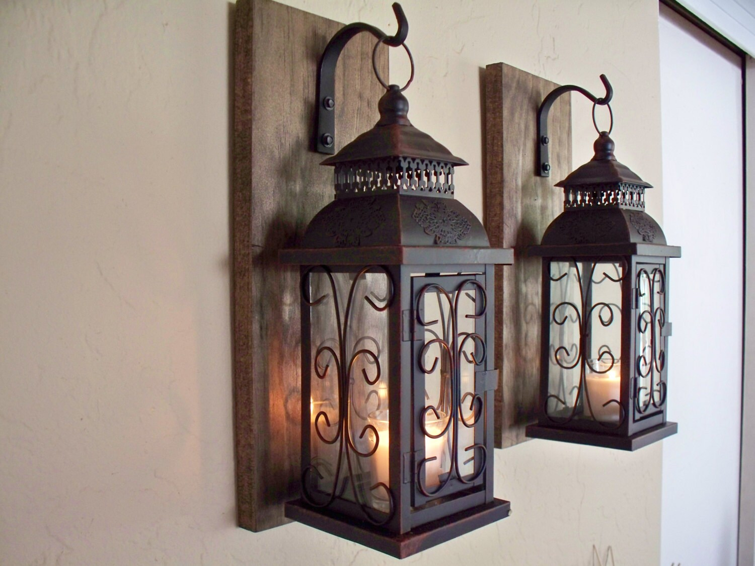 Lantern pair wall decor 2 wall sconces housewarming gift ... on Decorative Wall Sconces Candle Holders Centerpieces Ebay id=75516