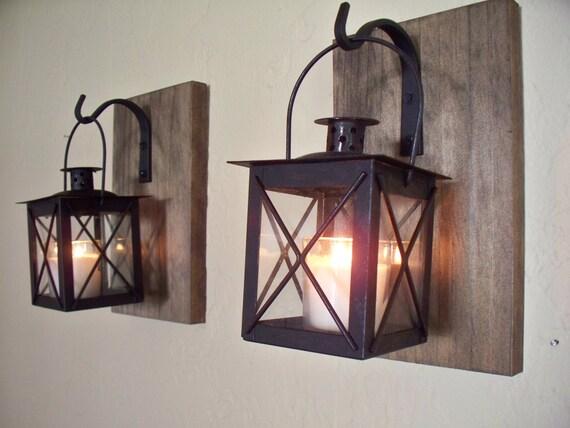Set Of 2 Lantern Pair Wall Decor Rustic Bathroom Decor