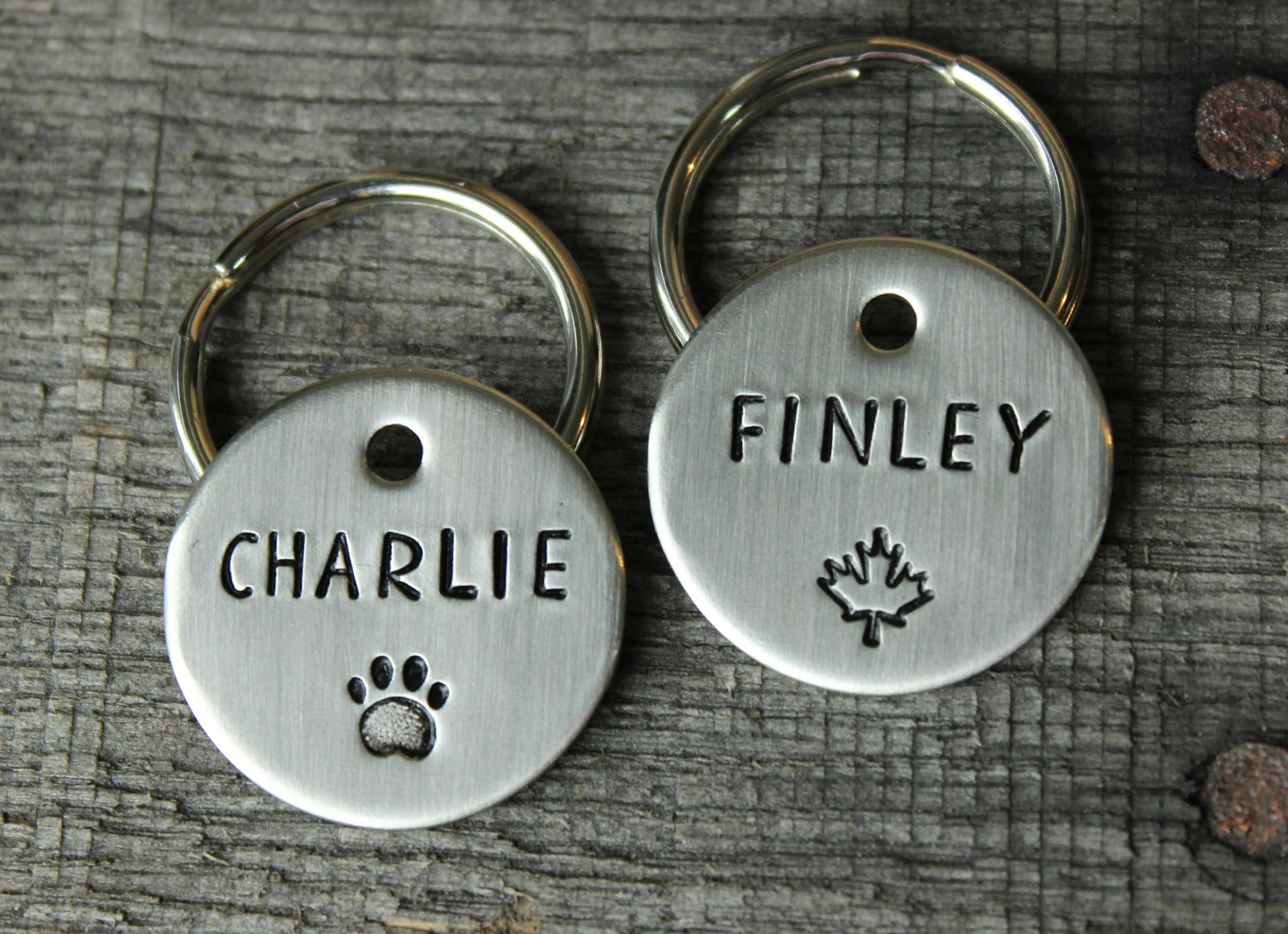 Dog tag personalized for your pet  Name tag with trees and Maple leaf