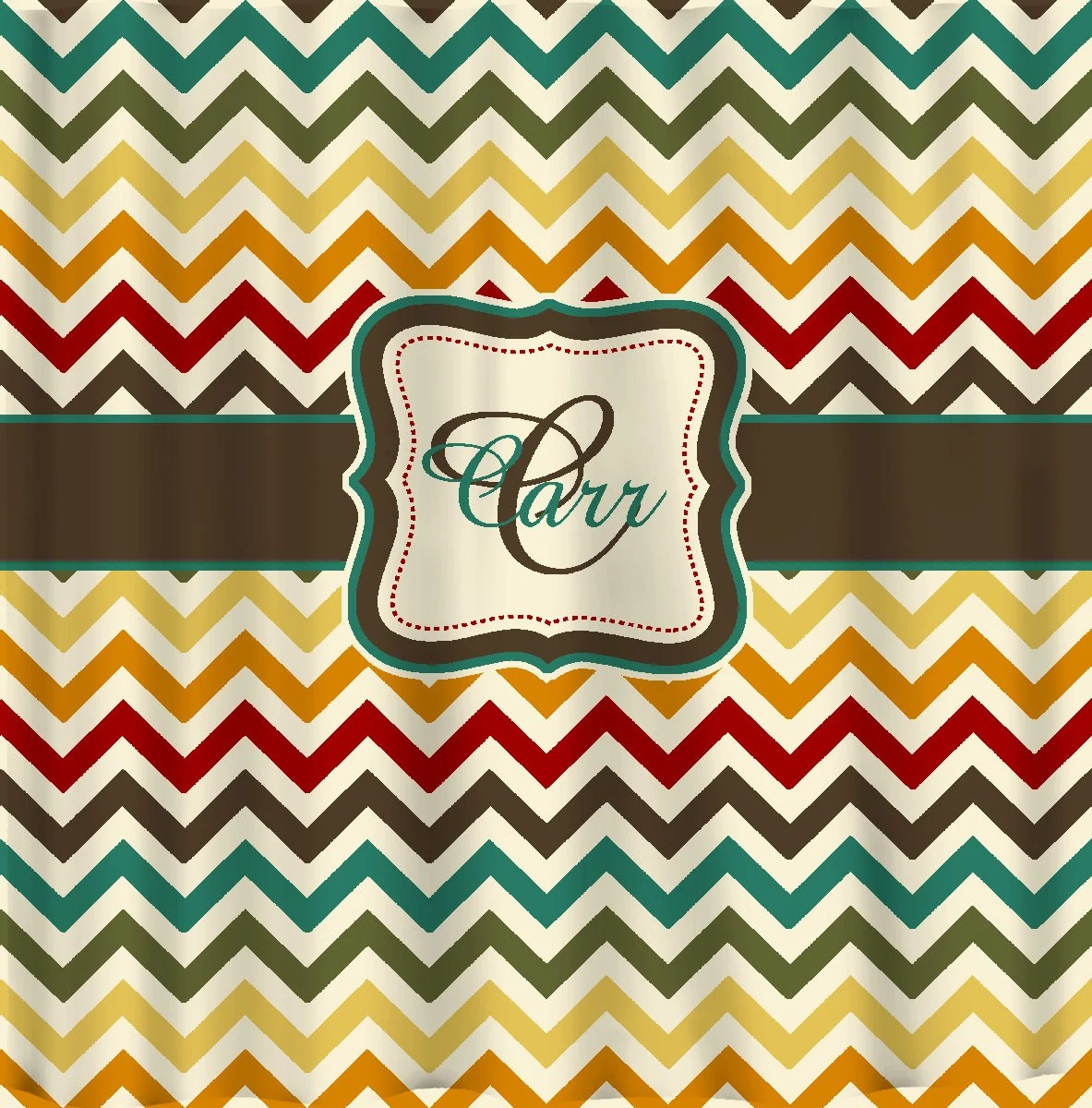 Shower Curtain Multi Color Chevron Any Colors Of Your Etsy