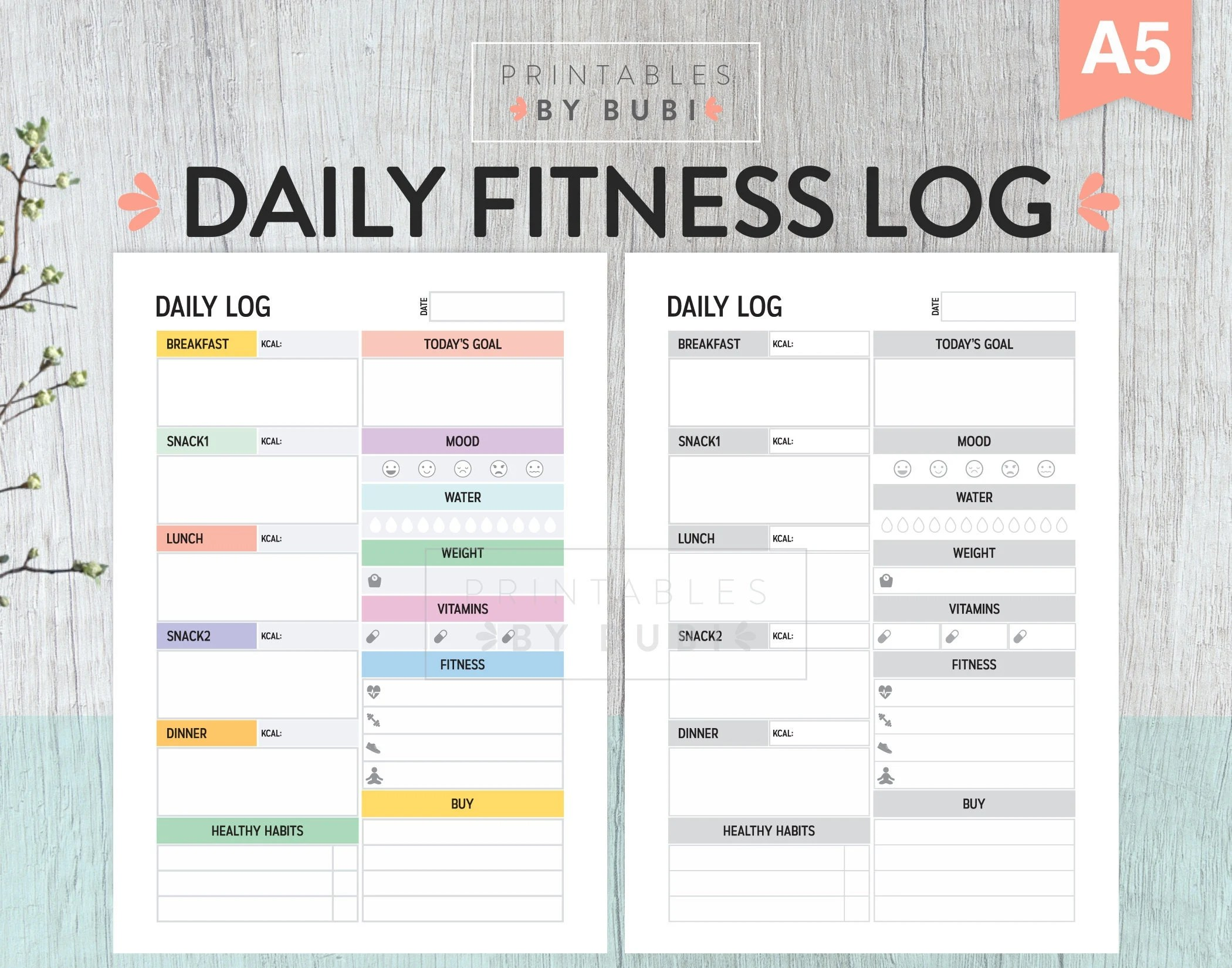 Printable Fitness Tracker Journal Health And Fitness