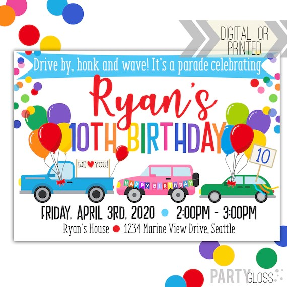 drive by birthday parade invitation digital invitation parade birthday drive by birthday party parade invitation