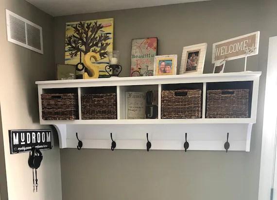 coat rack with storage shelf coat rack wall hanging etsy