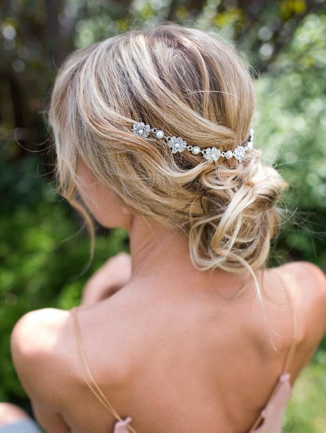 vintage style bridal hair chain comb, hair wrap, grecian headpiece, draped hair comb, floral wedding hair comb, hair wreath - 'helena'