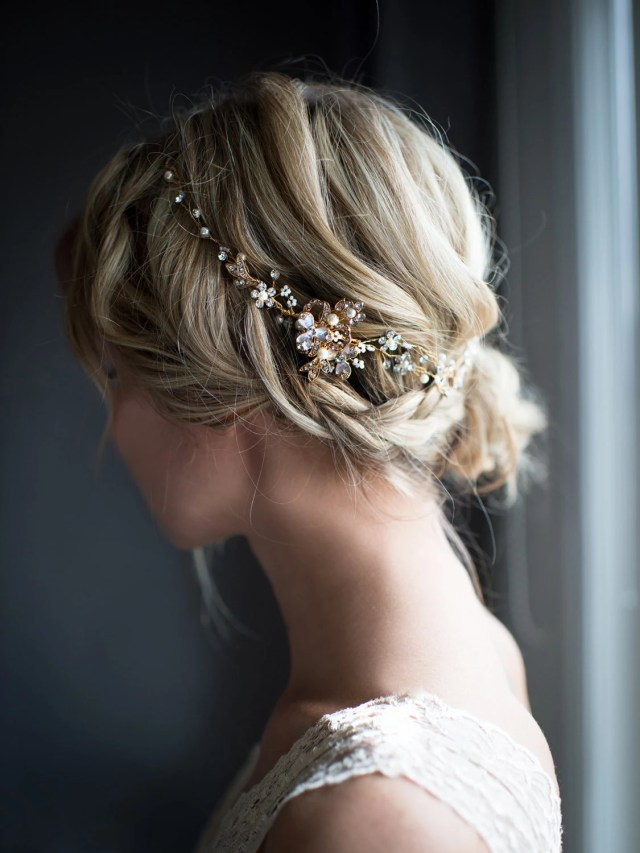 gold hair vine, boho half halo, rose gold, gold, silver half halo hair wreath, wedding hair vine, boho wedding headpiece - 'eve'