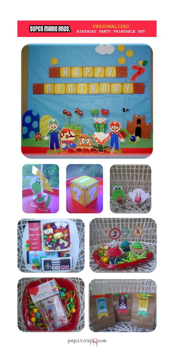 super mario bros birthday party huge package plus free item diy personalized editable color printable