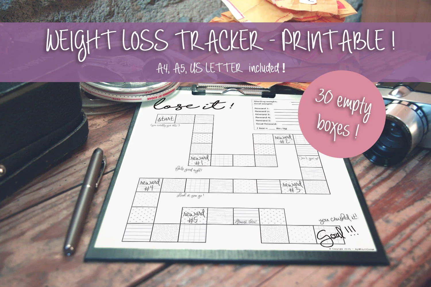 Printable Weight Loss Tracker Motivation Motivational