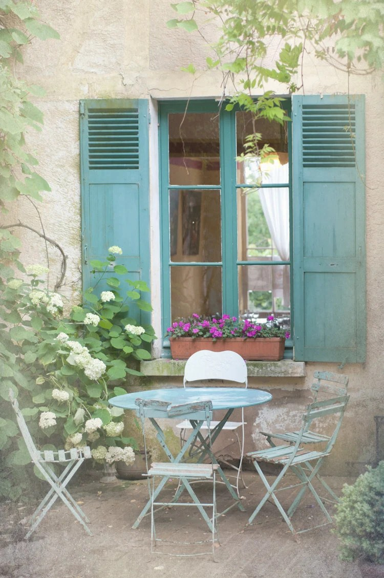 French Country Photography Blue Bistro Table Chairs Shutters Cottage Window Giverny France Wall Decor