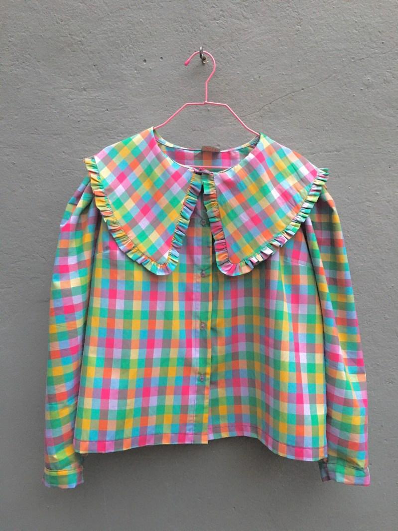 Handmade Oversized statement Peter Pan Collar shirt rainbow image 0