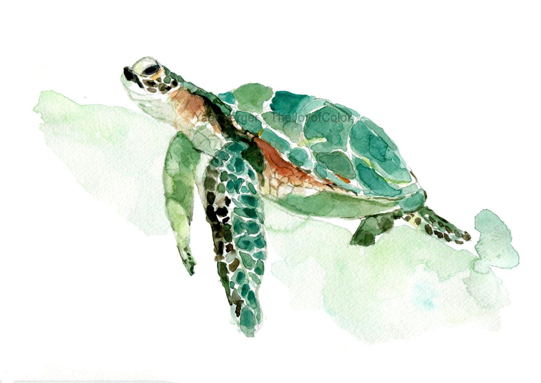 Sea Turtle Watercolor Print Sea Turtle Painting Sea Life