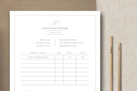Photography Forms Photographer Invoice Receipt Template