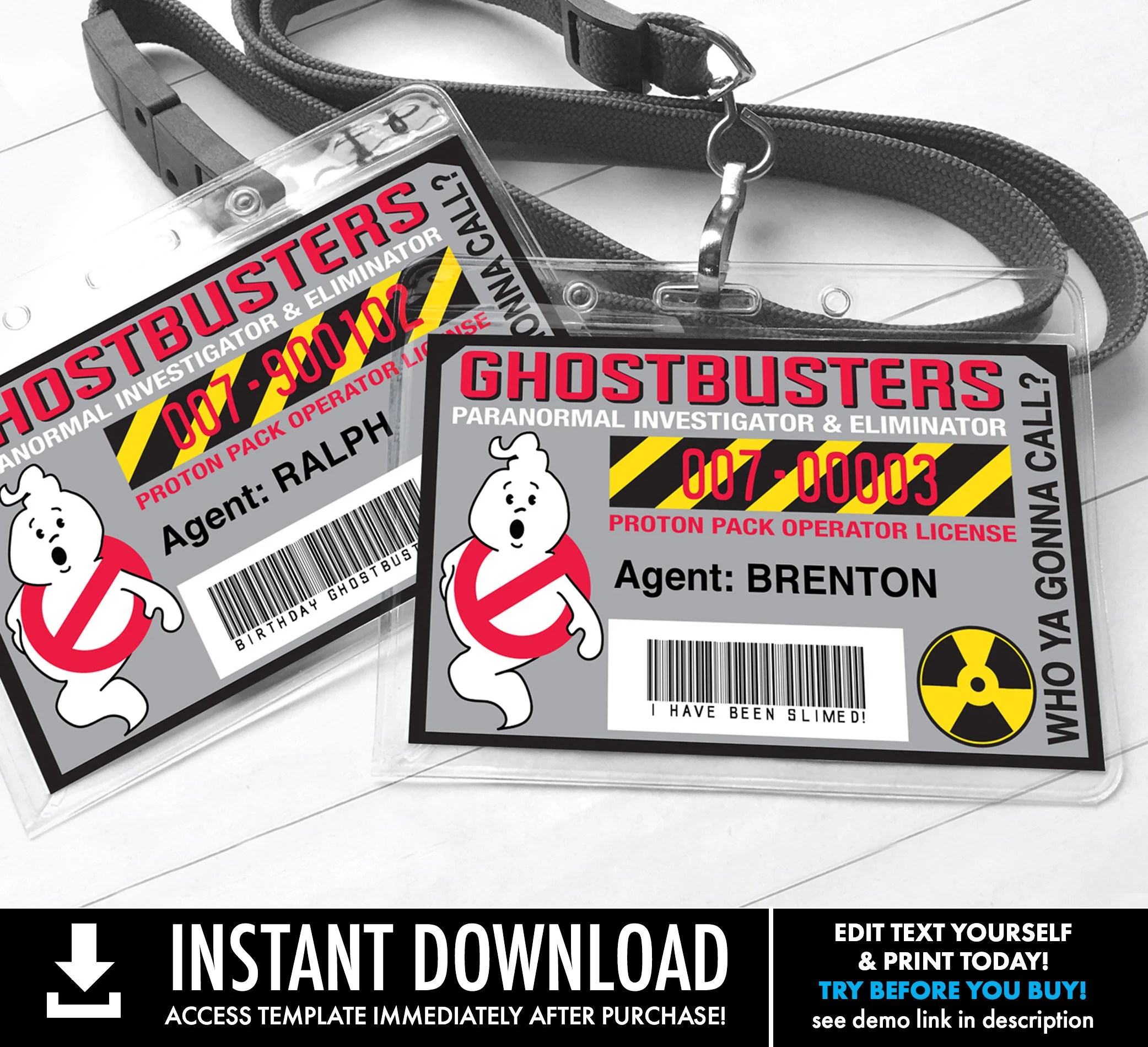 Free online student id card sample. Ghost Buster Badges Ghostbuster I D Badge Ghostbusters Birthday Party Favor Self Edit With Corjl Instant Download Printable Template
