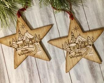 German Christmas Star Wood Ornament Alpine Church With Snow Handmade In Germany