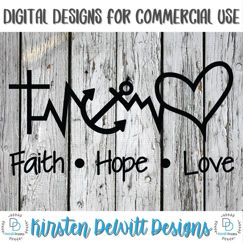 Download SVG PNG DXF Cut File Faith Hope Love Silhouette Cut File ...
